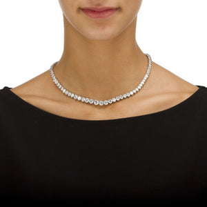 Silver 3 Prong Graduated Tennis Chain Necklace