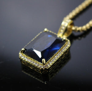 18k Iced out Sapphire  pendant