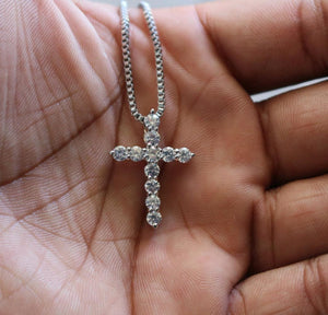 White Gold Iced Out Micro Cross Pendant