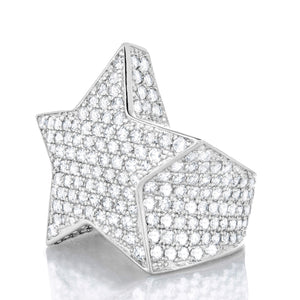Mens White Gold Star Ring
