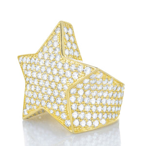 Mens 3d Gold Star Ring