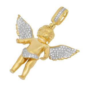 Gold over Silver Micro Angel Pendant