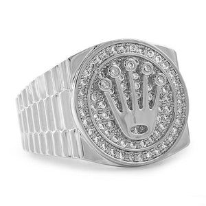 White gold iced out crown ring