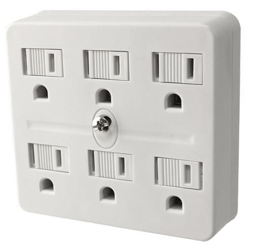 PowerAll 6 Outlet Grounded Adapter 120V