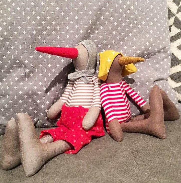 Gender free doll Stuffed animal Gray linen Bird doll Handmade geese Minimalist doll Modern Plush toy Timo handmade Eco toy Heirloom gift