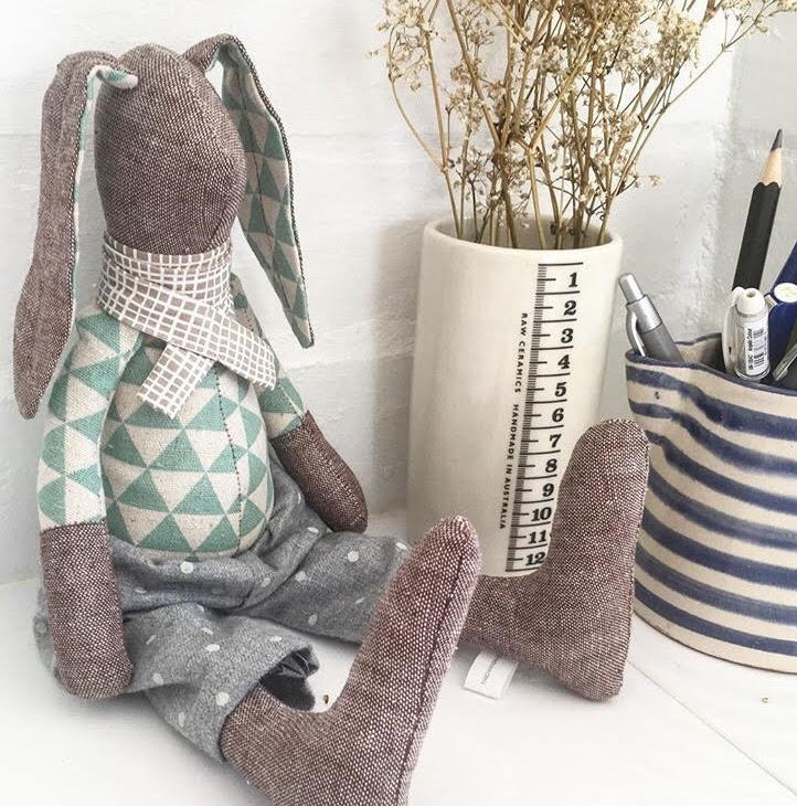 Rabbit pair dolls Stuffed bunny dolls Plush rabbit doll Linen & silk Handmade doll Set of 2 dolls Nursery decor Scandinavian design
