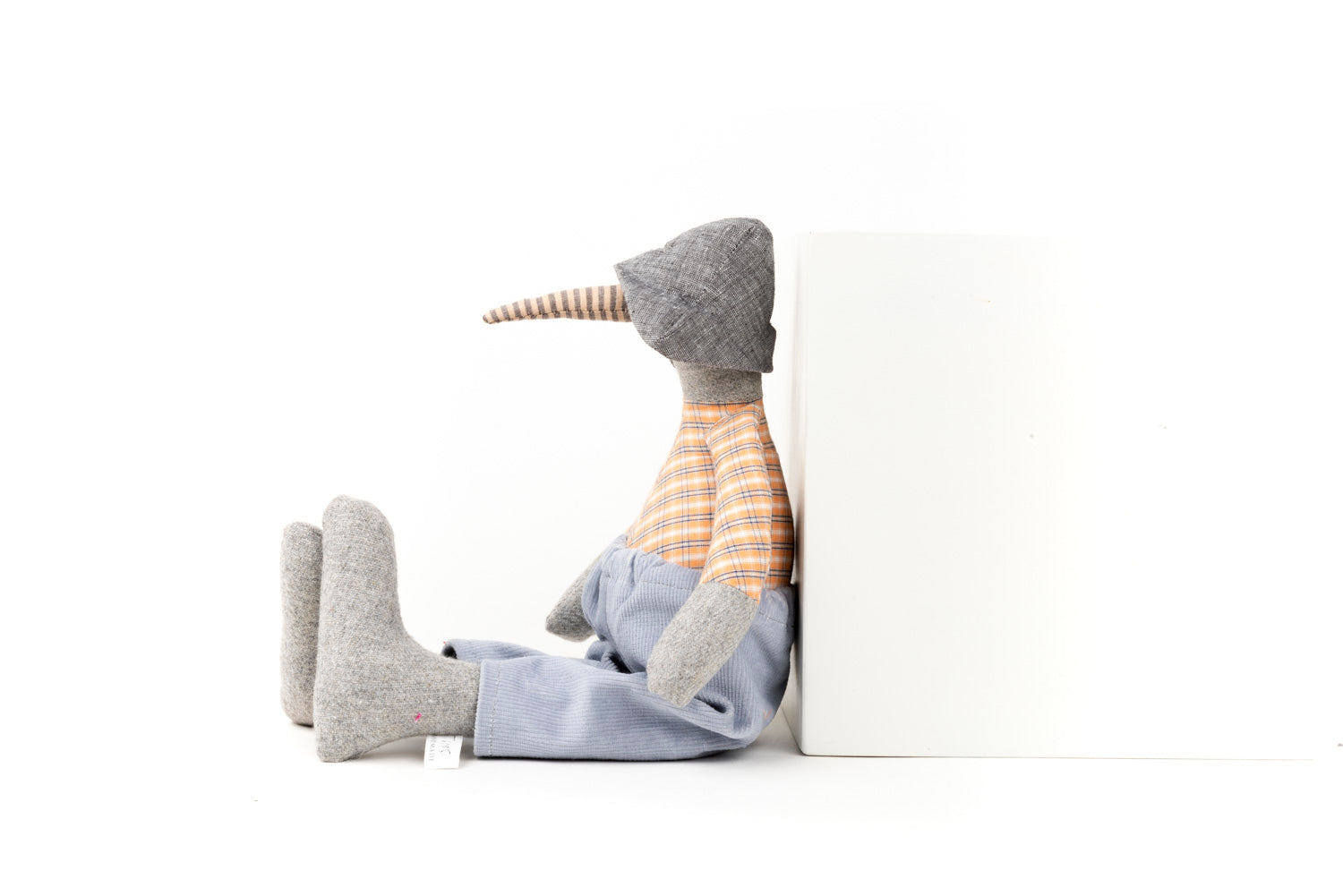 Stuffed animal Gray wool Bird doll Handmade geese Minimalist doll Modern Plush toy Timo handmade Eco toy Gender free doll Heirloom gift