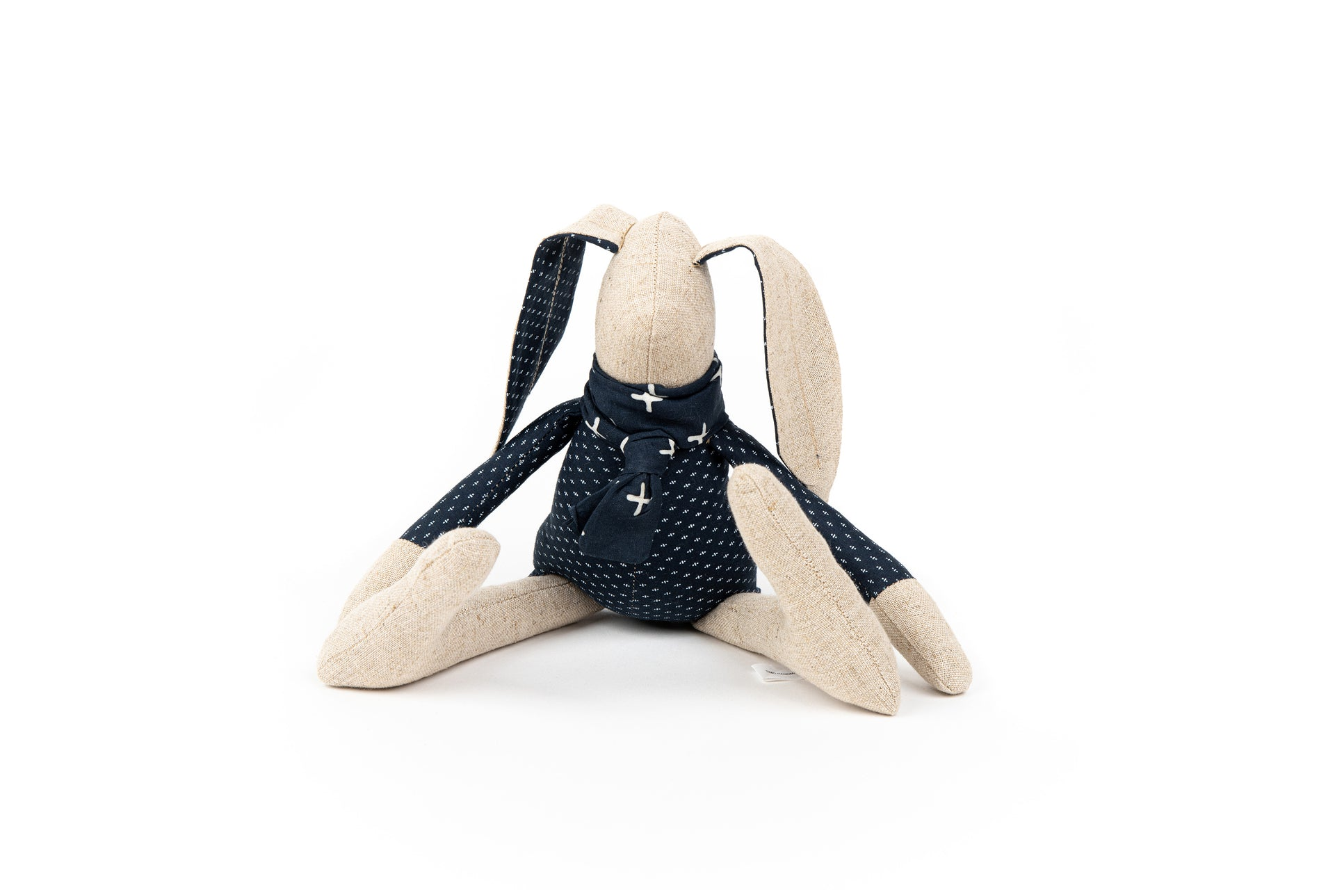 Bunny rabbit toy Linen rabbit Handmade doll Stuffed animal Rag doll Baby shower gift Gender neutral toy Navy blue nursery