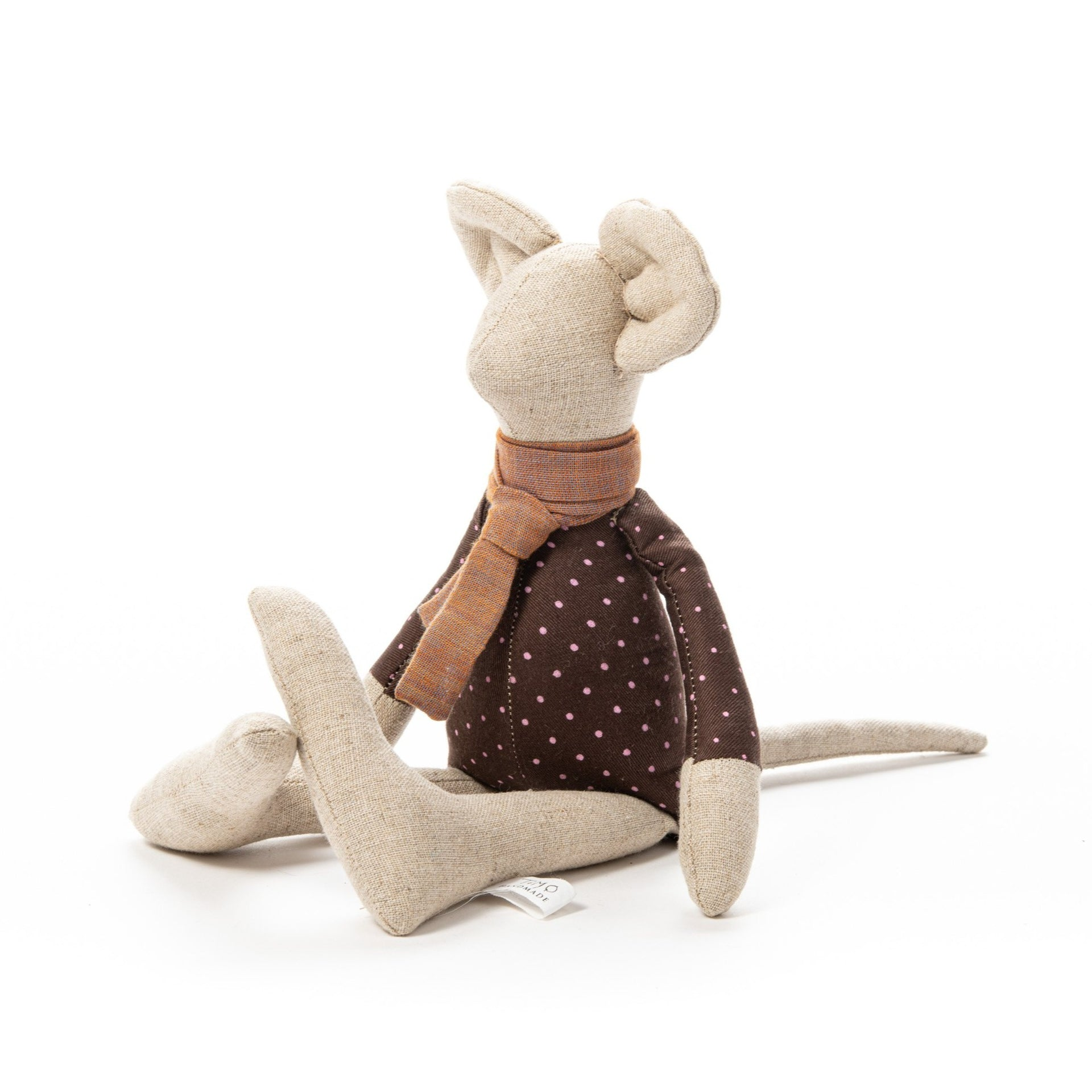 Little mouse doll Handmade doll Cuddly soft mouse toy Mini plush Stuffed animal toy Linen mouse toy Crib accessories Children's gift