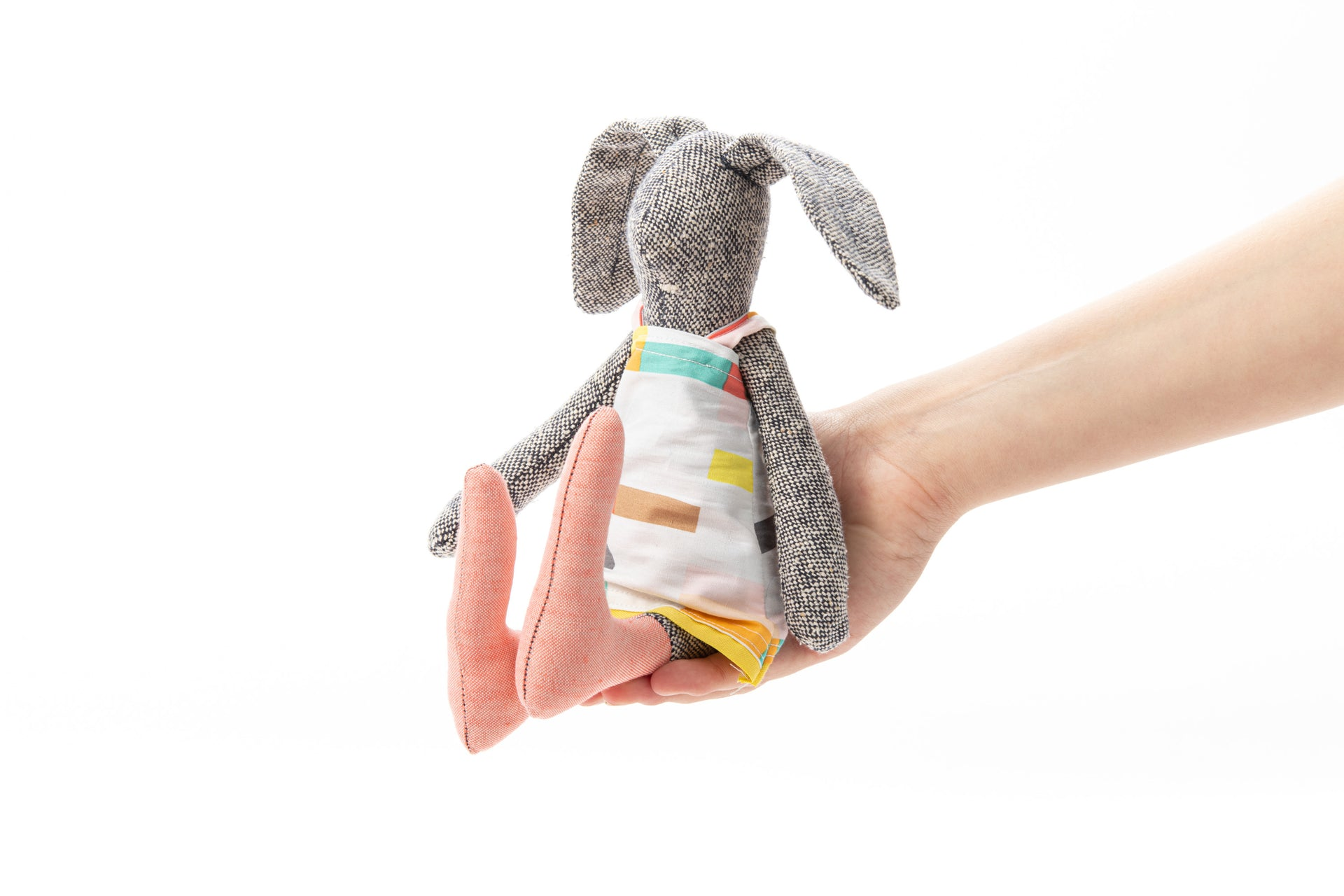 Handmade bunny Fabric doll Baby gift Rabbit doll Stuffed bunny Plush soft toy Knitted silk Cuddly rabbit Softie plush bunny Girl nursery