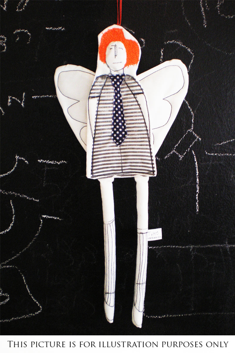 Gender free gift, Linen doll, Modern Christmas, Handmade ornament, Home decor doll, Angel doll, Fairy doll, Non binary gift, Hipster doll