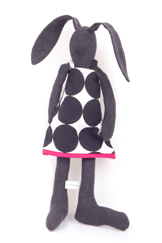 Black rabbit Stuffed animal Fabric bunny Handmade doll Plush rabbit doll Soft baby toy Cloth bunny doll Eco rag doll Modern black doll