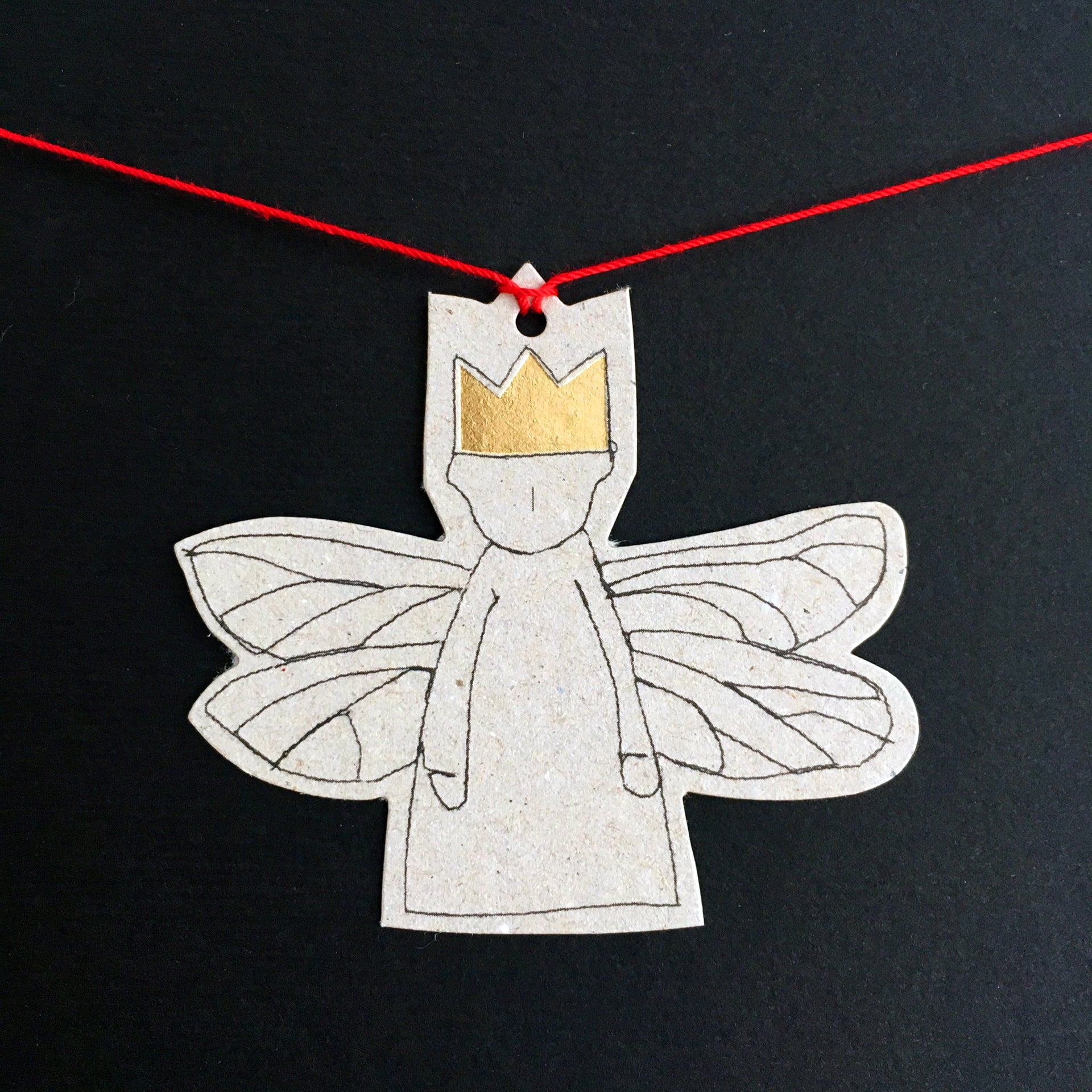 Paper garland ,small Guardian angel , gold foil gift tag , Hanging Ornament , brown or gray paper doll , Hanging Angel , rustic christmas-TIMO-HANDMADE