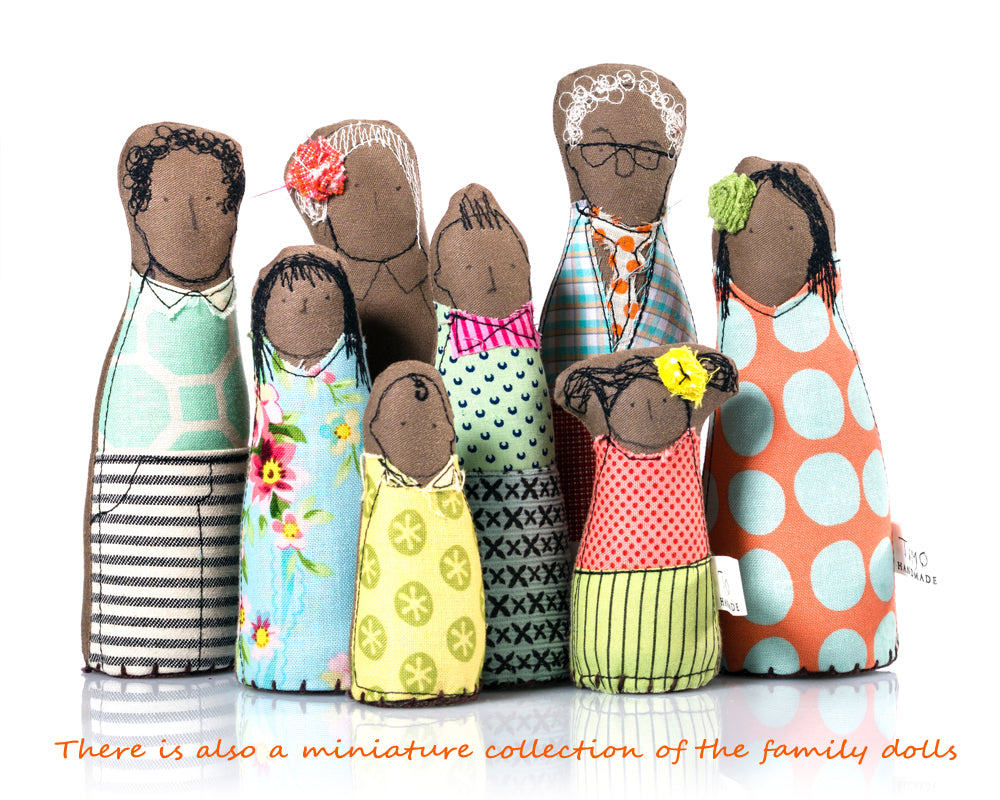 African American Family Grandparents gift Family portrait Brown dolls Textile portrait dolls Living room decor Family gift Valentine's gift