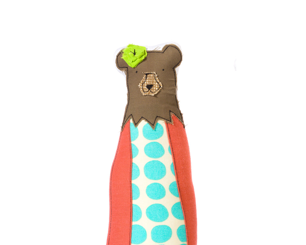 Mama bear , Bear doll , Sculpture doll , Hipster animal , Hipster  bear , Family portrait , Fabric doll  , Ornamental Doll , Book shelf decor , Modern nursery