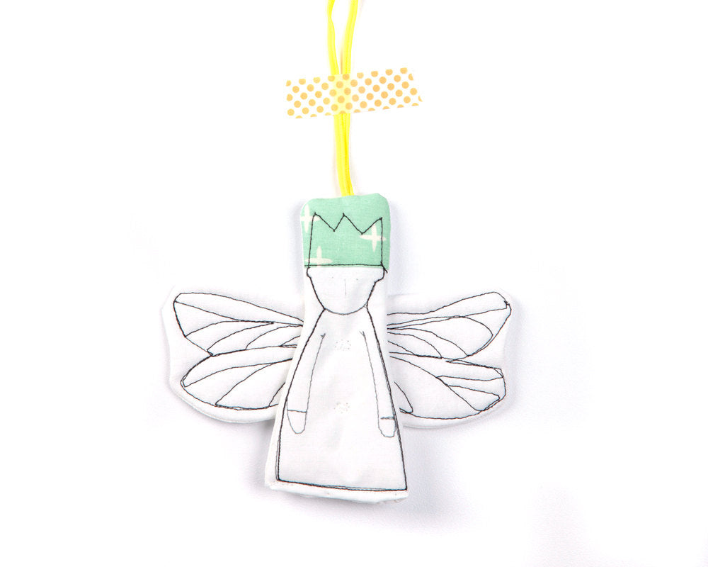 Little angel , Hanging decor , Christmas Angel , tree ornament , midget dwarf , hanging ornament , fabric gift tags , crib hanging toys-TIMO-HANDMADE