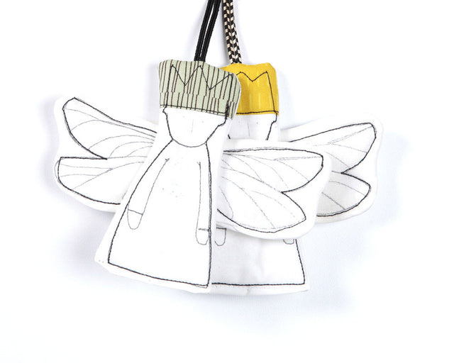 Wall decor , Hanging Angel , gift tags , set of 2 , dwarfs , Sage mustard , stocking stuffer , Christmas tree ornaments , holiday decoration-TIMO-HANDMADE