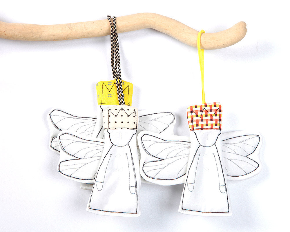 Set of dolls , Nursery Art , Guardian angel doll , crib hanging toys , Modern ornaments , Hanging angels , holiday door decor , set of 3-TIMO-HANDMADE