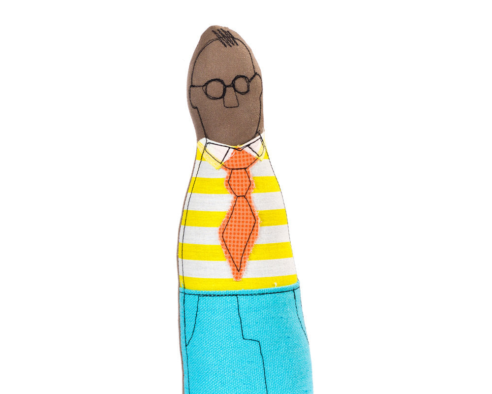 Engagement gift idea , African America Doll , black doll , Portrait doll , hipster dad , men doll , family illustration , fabric mini me-Single family dolls-TIMO-HANDMADE