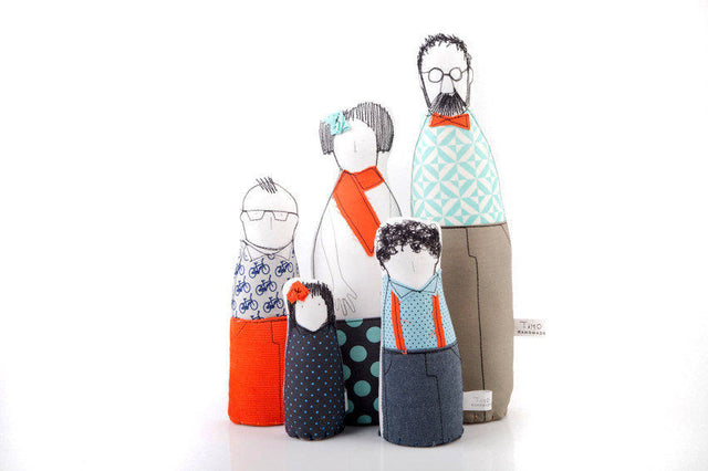 Mother's Day gift , Family portrait , Soft sculptur , art dolls , Couple & children , mini-me stuffed doll , hipster Family Character dolls-TIMO-HANDMADE