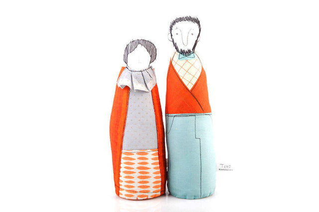 Selfie Couple , Personal family , Grandparents gift , soft sculpture dolls , Bearded men , Family Portrait , Dolls Pair , Couple gift dolls-TIMO-HANDMADE