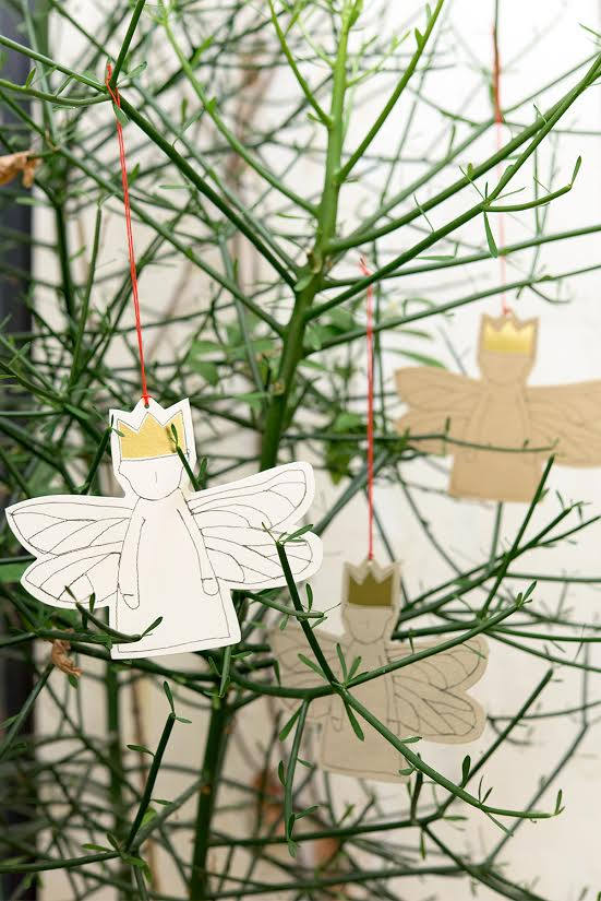 Paper gift tag , Xmas ornament , dwarf angel , Gold Foil crown , dragonfly wings , Hanging Ornament , Party Supplies , Christmas Angel-TIMO-HANDMADE