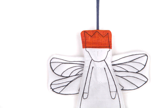 Hanging Angel , housewarming gift , rustic christmas , midget dwarf , king ornament , dragonfly wings , handmade gift tag , Wall Décor-TIMO-HANDMADE