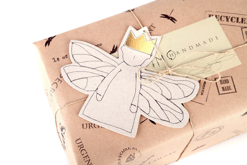 Angel ornament , Set of 5 , gold foil gift tags , Hanging Ornament , brown paper doll , Hanging Angel , rustic christmas , nursery decor-TIMO-HANDMADE