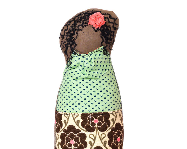 Living room decor , African America Doll , Lady doll , Woman doll , handmad portrait , hipster mom doll , toy for home decor , selfie doll-Single family dolls-TIMO-HANDMADE