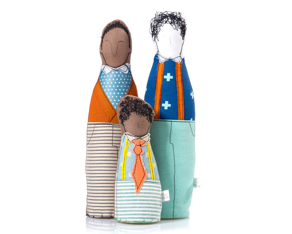 Same sex couple , Mixed Family , Portrait dolls , Gay family , Proud family , father & son , soft sculpture doll , Personal family-TIMO-HANDMADE