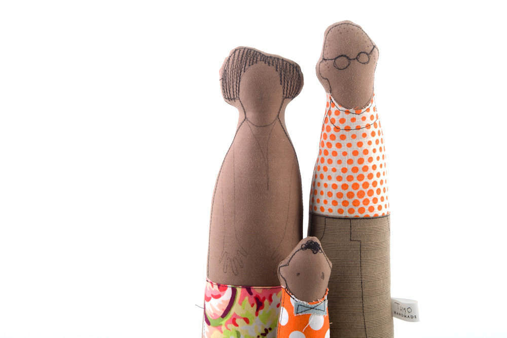 Personal family , african american , Family Portrait , Couple and child , kids room decor , unique toys , soft sculpture doll , fabric doll-TIMO-HANDMADE