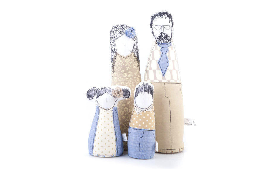 Family set , Personal family , Family portrait , Parents gift , children dolls , handmade fabric doll , individual portrait , playroom decor-TIMO-HANDMADE