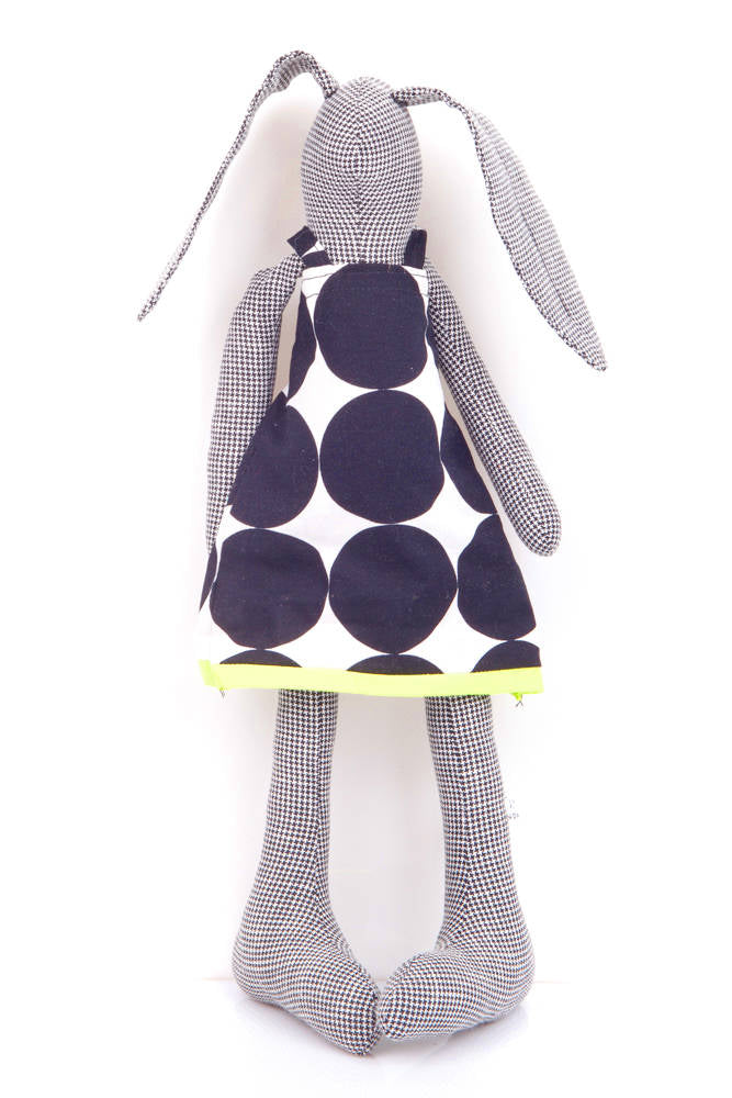 stuffed bunny , Home Decor Toy , black doll , Modern nursery , textile doll , cuddling rabbit , stuffed doll , eco plush , Woodland Plushie-TIMO-HANDMADE