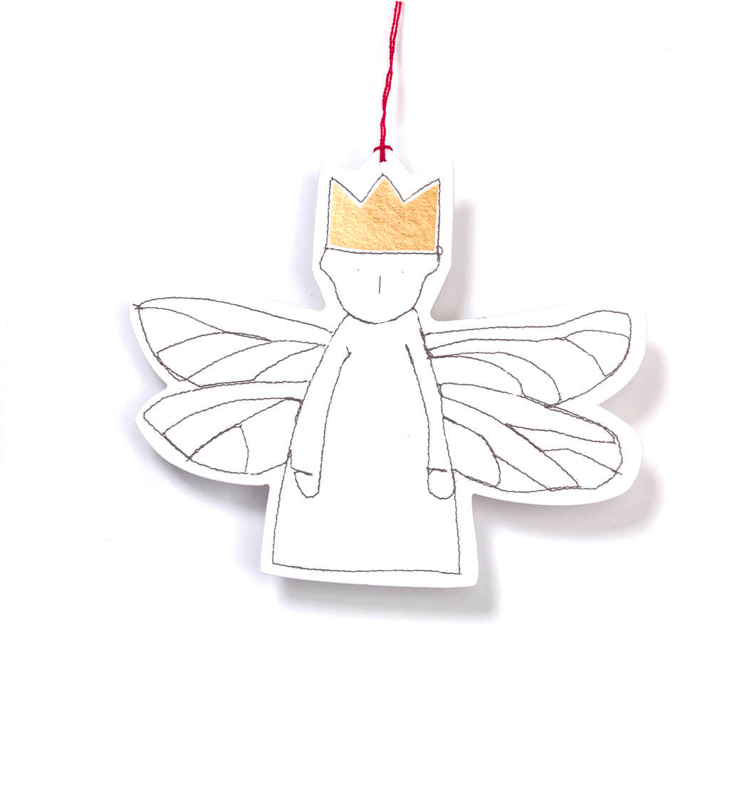 Gold foil gift tags , Christmas Ornament , White paper doll , dwarf angel , dragonfly wings , Tree Decor , Hanging angel , Wall Hangings-TIMO-HANDMADE