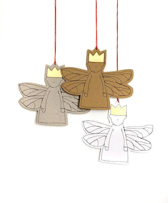 Holiday gift tags , gold foil gift tags , Christmas Ornament , Set of 3 , gray paper doll , Guardian angel , tree ornament , Hanging angel-TIMO-HANDMADE