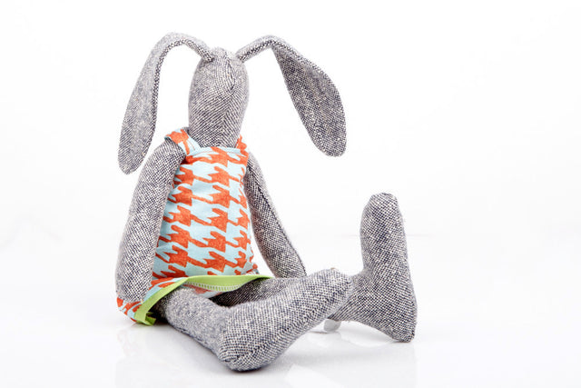 Easter Bunny , Cuddling stuffed doll , handmade gift doll , gray silk doll , rabbit doll , Animal Doll , Bunny Toy , Cloth doll Bunny-TIMO-HANDMADE
