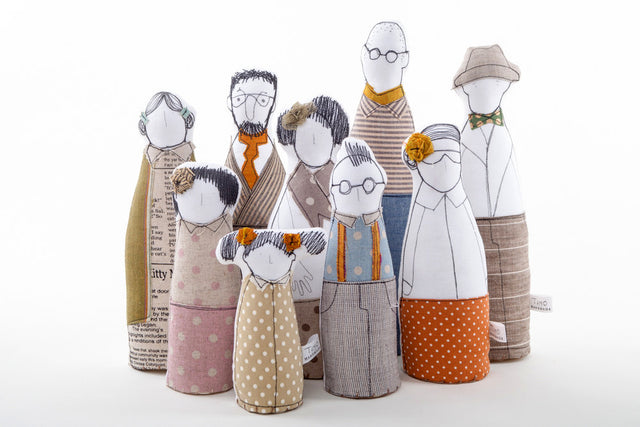 Family portrait , Family gift , art dolls , Playset dolls , Character dolls , livingRoom Decor , Personal family Portrait , Fabric Family-TIMO-HANDMADE