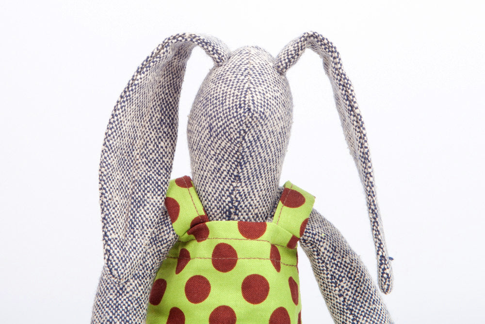 Easter basket toy - Cuddling doll - handmade bunny - softie plush toy - stuffed rag doll - gray woven silk rabbit doll - green Burgundy-TIMO-HANDMADE