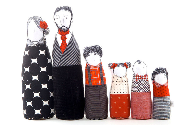 Family portrait dolls , Playset dolls , Soft sculptur art , Personal family Portrait , Couple dolls , 4 kids dolls , Handmade decor dolls-TIMO-HANDMADE