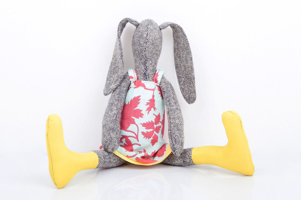 Bunny plushie - ragdoll rabbit - easter bunny - Girl Toys - Stuffed bunny doll - gray knitted silk rabbit doll - pink mint yellow - eco doll-TIMO-HANDMADE
