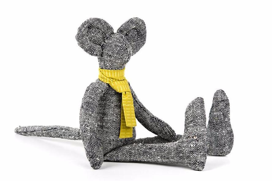 Black white woven silk , Stuffed Mouse , Plush mice , Mouse doll , Minimalist mouse , Timo's doll , Hip kids , Modern rag doll , Fine toy , Baby toy , Soft toys