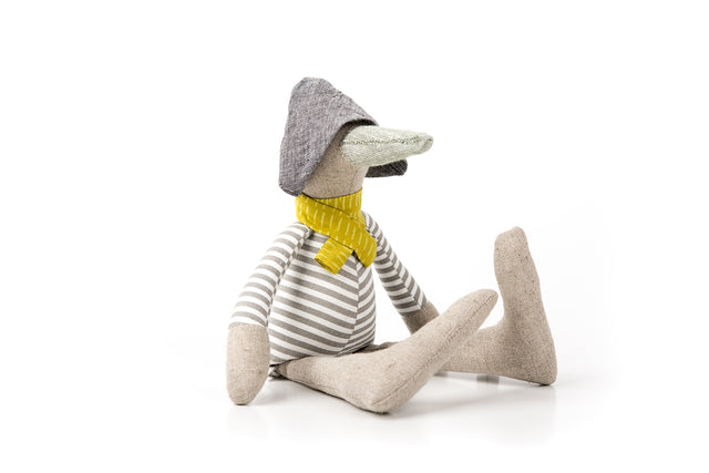Handmade goose doll SMALL bird Handmade doll Eco friendly Stuffed toy Cuddly chick doll Newborn first doll Modern Nursery Plush linen doll