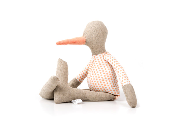 Gender free doll Duckling doll Nursery essentials Handmade eco doll Linen SMALL bird First birthday Cuddly duck doll Newborn gift Baby chick
