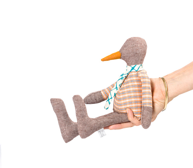 Peach Brown doll , SMALL bird , Rag doll , Duck doll , Baby goose , Newborn eco doll , Modern nursery , Chick doll , Handmade cloth doll , Plushie softie bird