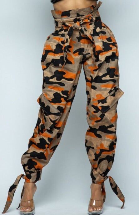 Orange Camo Baggy Pants - Run Small