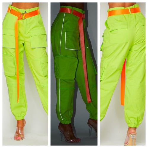 Dope Neon Cargo Pants (Has Stretch)