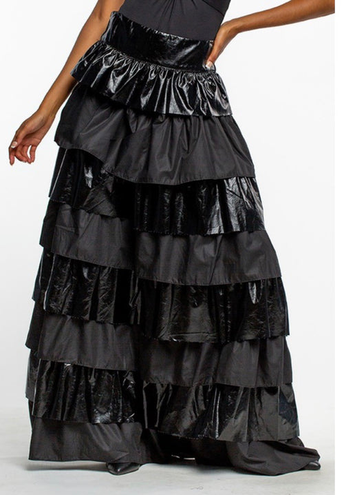 Black Ruffle Runway Skirt