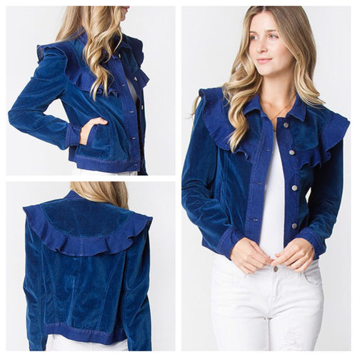 Denim and Velvet Ruffle Jacket