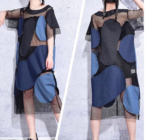 Color-block Hollow Denim Dress or Cover Up