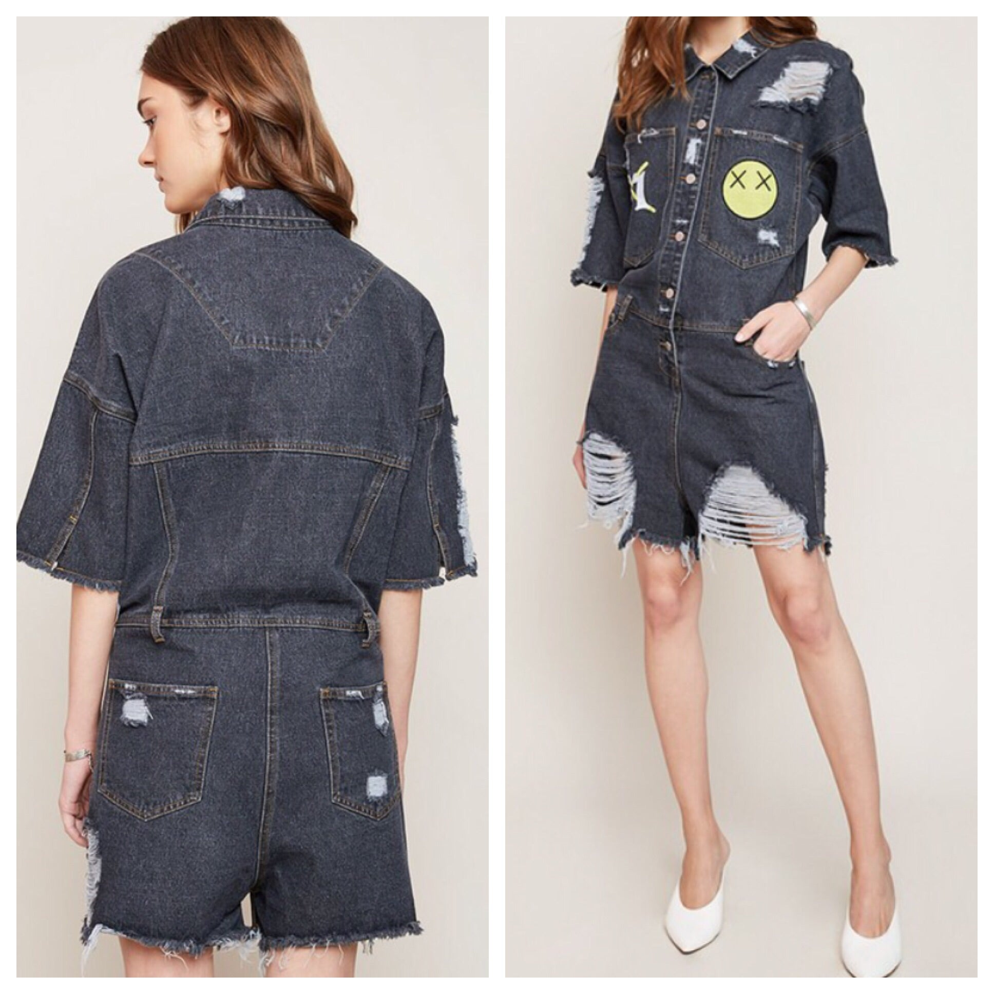 Distressed Denim Romper - Run Small